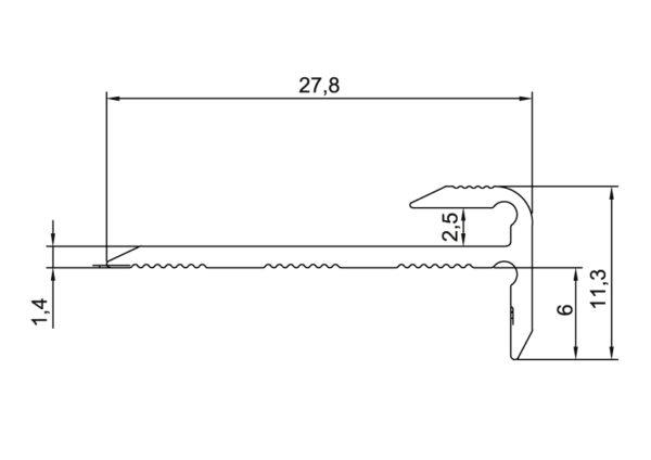 R6407-6415-Alu-trapneus-profiel-28x12-mm-voor-pvc